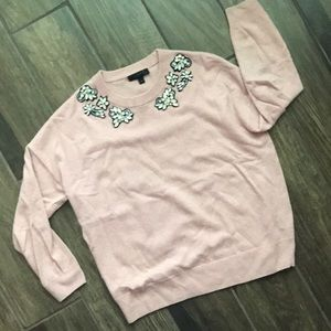 J. Crew Opal Embellished Sequin Pink Sweater Sz 8